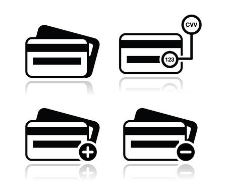cvv: Credit Card, CVV code black icons set with shadow