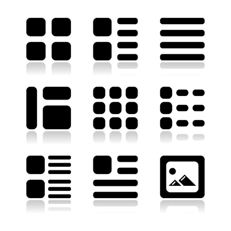organise: Gallery view Display options icons set - list, grid