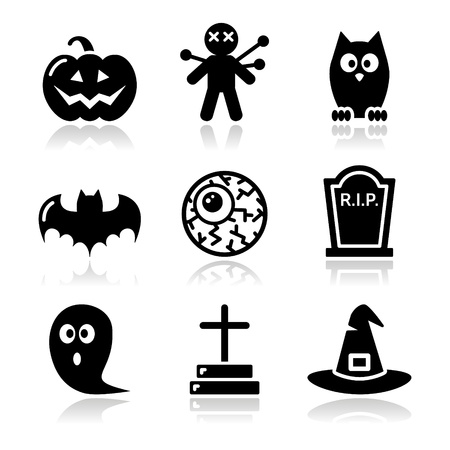 tombstone: Halloween black icons set - pumpkin, witch, ghost