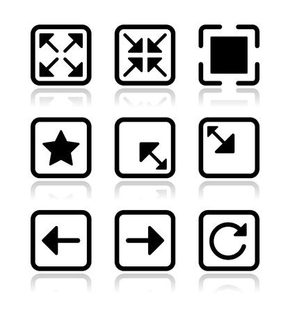porgere: Schermata del sito web icone set - a schermo intero, ridurre al minimo, rinfrescare Vettoriali