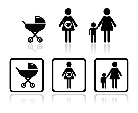 Baby icons set - carriage, pregnant woman, family Vector