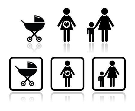 carriage: Bambino icone set - carrello, donna incinta, famiglia Vettoriali