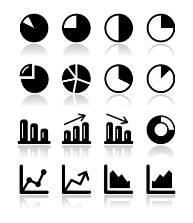 graph down: Chart graph black icons set for infographic