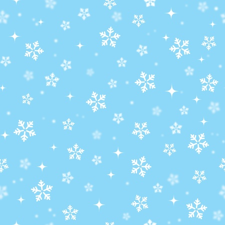 Snowflakes on blue sky - Christmas seamless background Vector