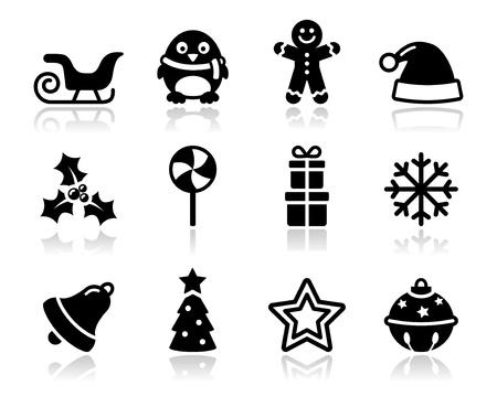 Christmas black icons with shadow set Illustration