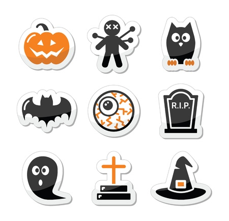 halloween kids: Halloween black icons set as labels
