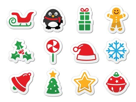 pinguinos navidenos: Navidad iconos como etiquetas coloridas fijadas