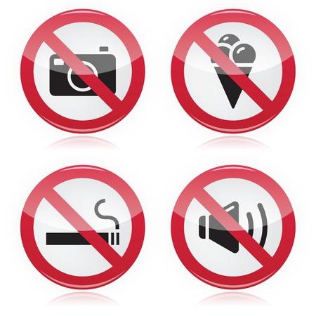 Forbidden sign  no cameras, no food, no smoking, no noise Stock Vector - 15326123