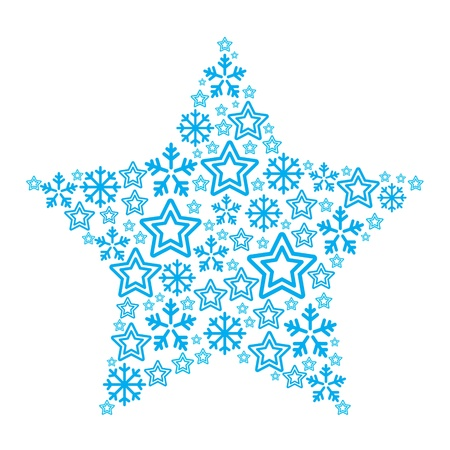 snowflake: Christmas star made of star and snowflakes icons