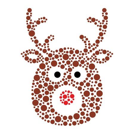 rudolf: Christmas reindeer rudolf icon made of circles