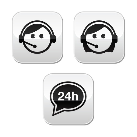 face with headset: Customer service agents buttons set Illustration