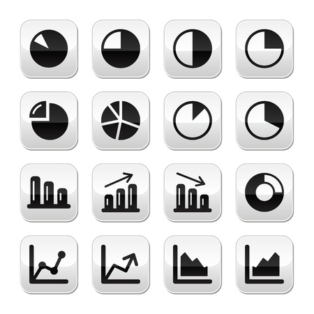 percentage sign: Chart graph black buttons set for infographics