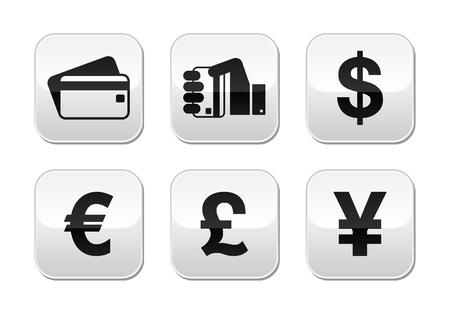Modes de paiement boutons ensemble - carte de crédit, en espèces - monnaie Vecteurs