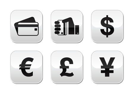yen: Payment methods buttons set - credit card, by cash - currency