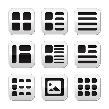 organise: Website gallery view Display options buttons set - list, grid
