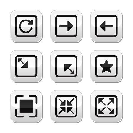 refrescarse: Website pantalla tamaño botones set - pantalla completa, minimizar, refrescar Vectores