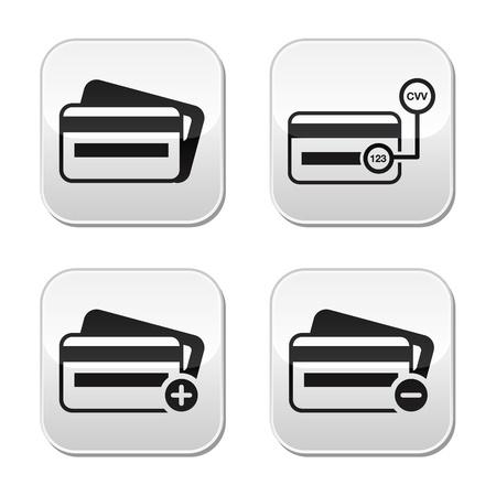 debit card: Credit Card, CVV code buttons set Illustration