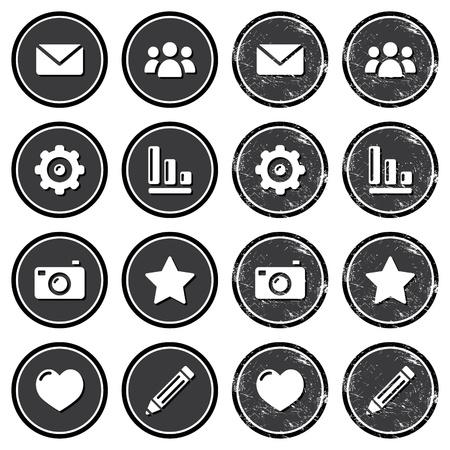 contact icon: Website menu navigatie retro grunge labels