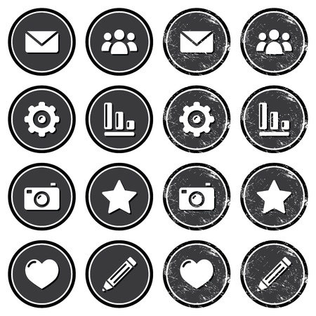 photo icons: Website menu navigation retro grunge labels
