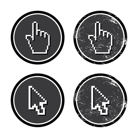 Cursors hand and arrow on retro label Stock Vector - 15656961