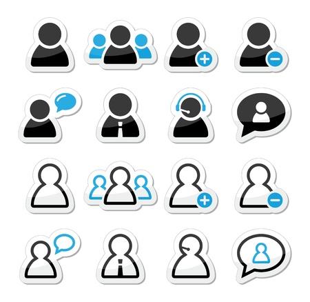 avatars: Utente uomo etichette delle icone previste per il sito web Vettoriali