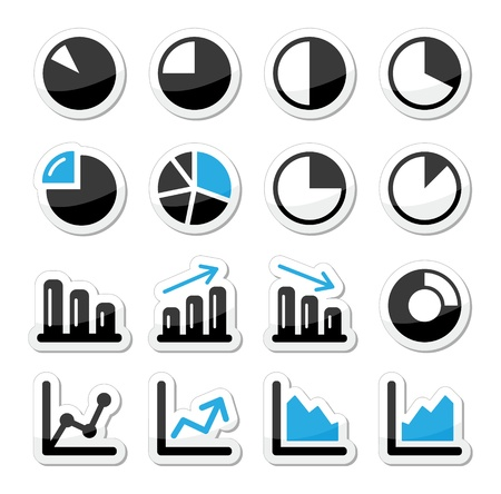 downfall: Chart graph black and blue icons as labels