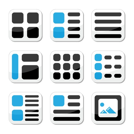 Website display options and photo gallery view icons set Stock Vector - 15656962
