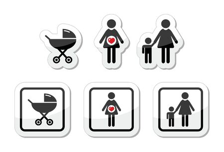 Baby icons set - parm, pregnancy, mother Vector