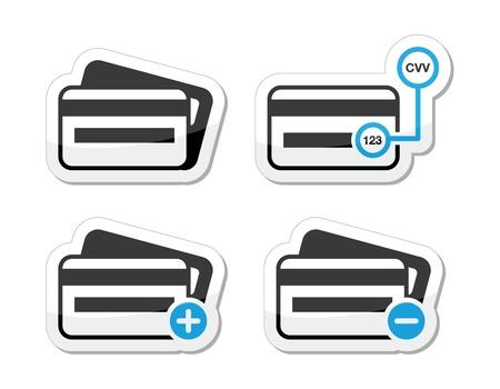 tarjeta de credito: Tarjeta de cr�dito, c�digo CVV iconos como calcoman�as Vectores
