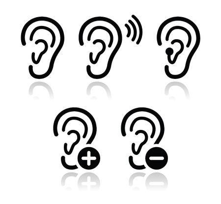 listening device: Ear hearing aid deaf problem icons set