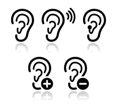 Oído iconos de audífonos sordos conjunto de problemas Ilustración de vector