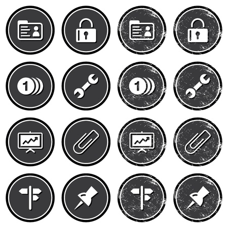 comments: Website navigation icons on retro labels set Illustration