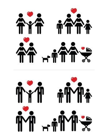 boda gay: Las parejas gays, lesbianas y familiares con los iconos de los ni�os establecer