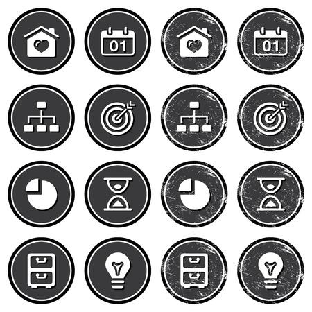 gray bulb: Website navigation icons on retro labels set Illustration