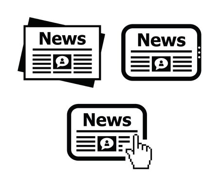 hot news: Newpaper, news on tablet icons set