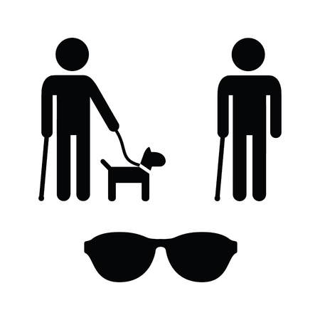 Blind man icons set - with guide dog, walking stick Vector