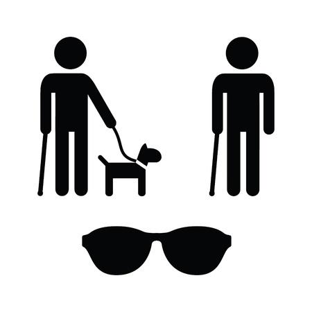 handicap people: Iconos fijados - Blind Man con perro gu�a, bast�n