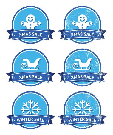 Christmas and winter sale retro labels Vector