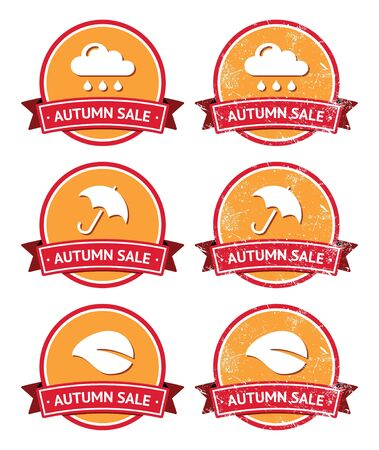 Autumn sale retro orange and red labels - grunge style Stock Vector - 15969848