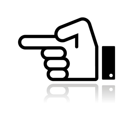 pointing at: Pointing hand icon vector Illustration