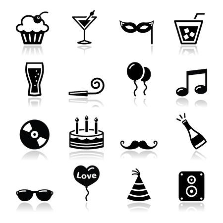 gorros de fiesta: Parte set icons - birthday, s A�o Nuevo, Navidad