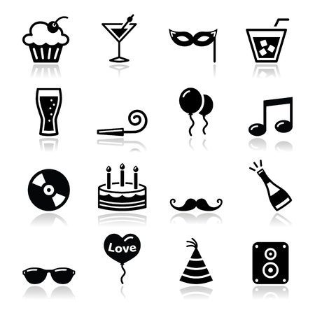 drunk: Party icons set - birthday, New Year s, Christmas