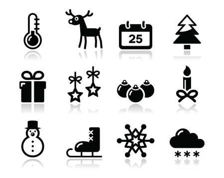Christmas winter black icons set Vector