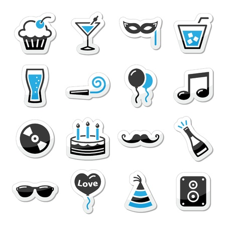 entertainment event: Holidays and party icons set as labels