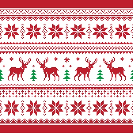 Christmas and Winter knitted seamless pattern or card with deer - scandynavian style Vector