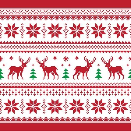 Kerst en Winter gebreide naadloze patroon van of kaart met herten - scandynavian stijl