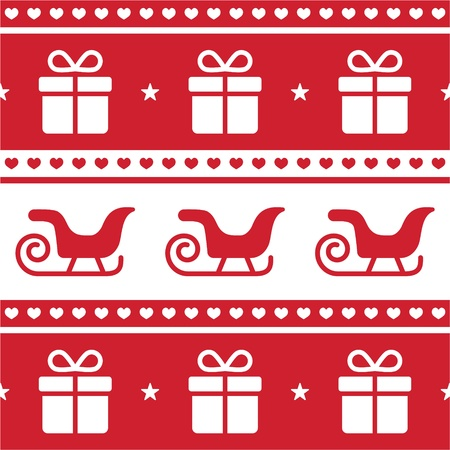 scandynavian: Christmas card, seamless pattern with santa s sledges and present Illustration