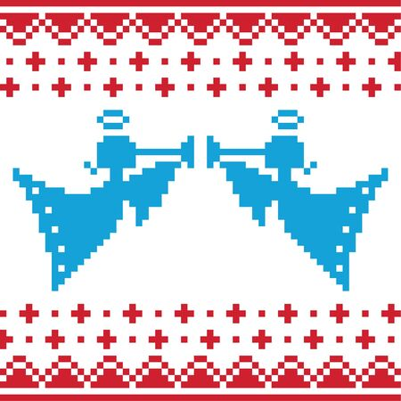 Knitted christmas vector angles card on seamless background Stock Vector - 16135382