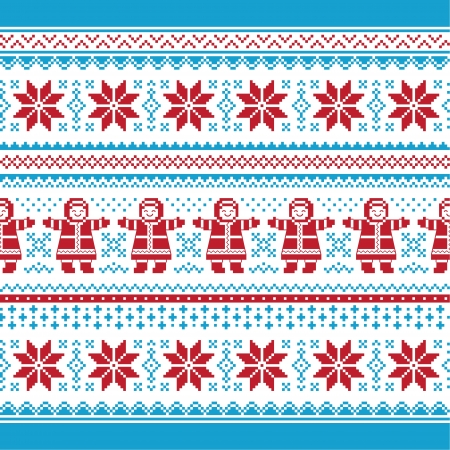 Christmas vector card - traditional knitted pattern