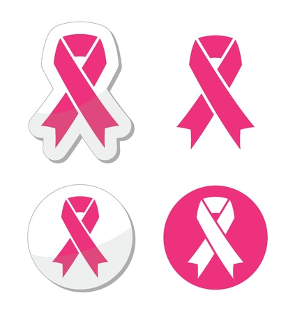 set of pink ribbons symbols for breast cancer awareness Illustration